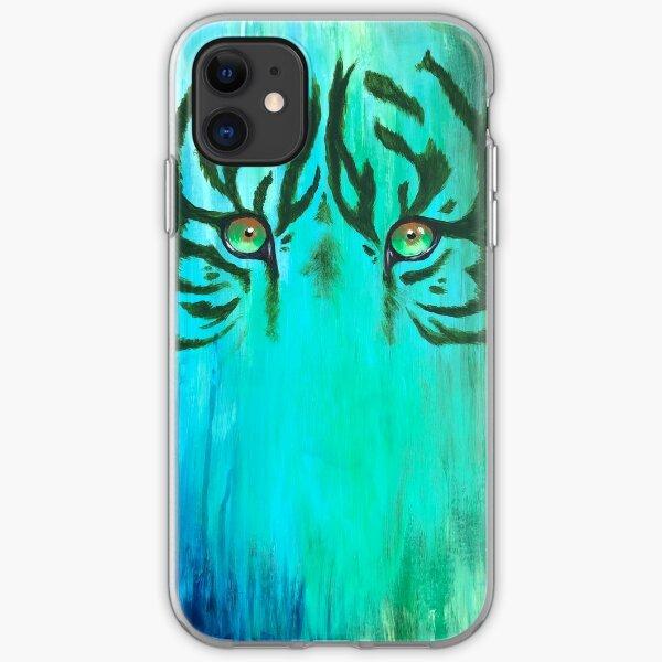 Pintura acrílica de ojos de tigre Funda blanda para iPhone