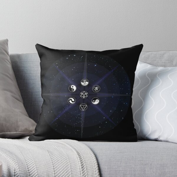 Stars with White Universal Principles of Alchemy Symbols Throw Pillow