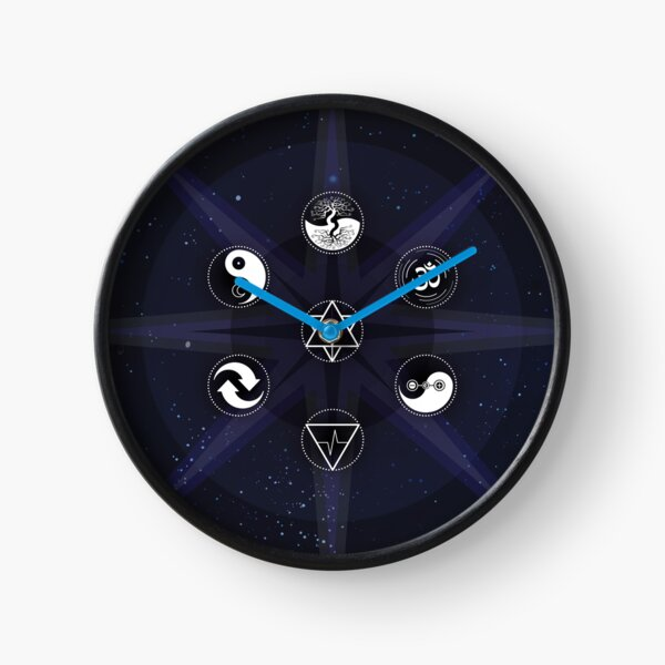 Stars with White Universal Principles of Alchemy Symbols Clock