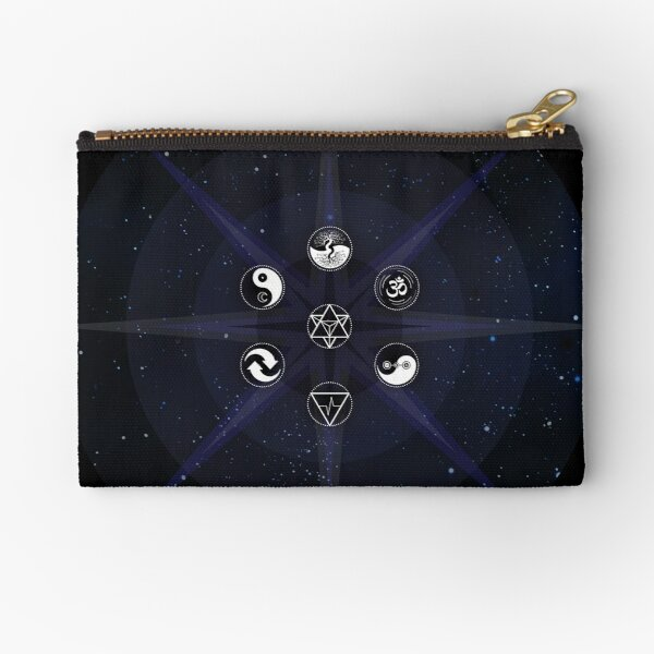 Stars with White Universal Principles of Alchemy Symbols Zipper Pouch