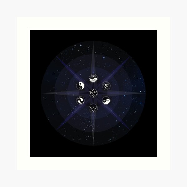 Stars with White Universal Principles of Alchemy Symbols Art Print
