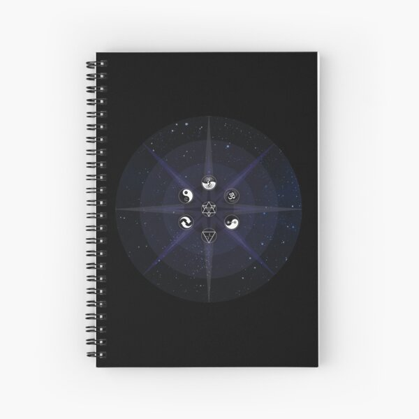 Stars with White Universal Principles of Alchemy Symbols Spiral Notebook