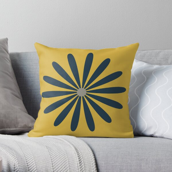 Big Daisy in Navy Blue and Grey on Light Mustard Yellow. Minimalist Mid Century Modern Geometric Retro Floral  Throw Pillow