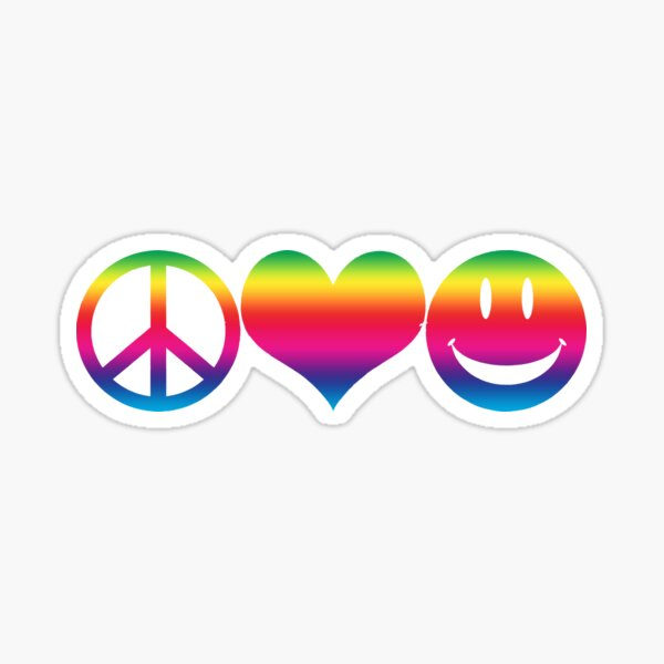 Peace, Love, and Happiness Sticker