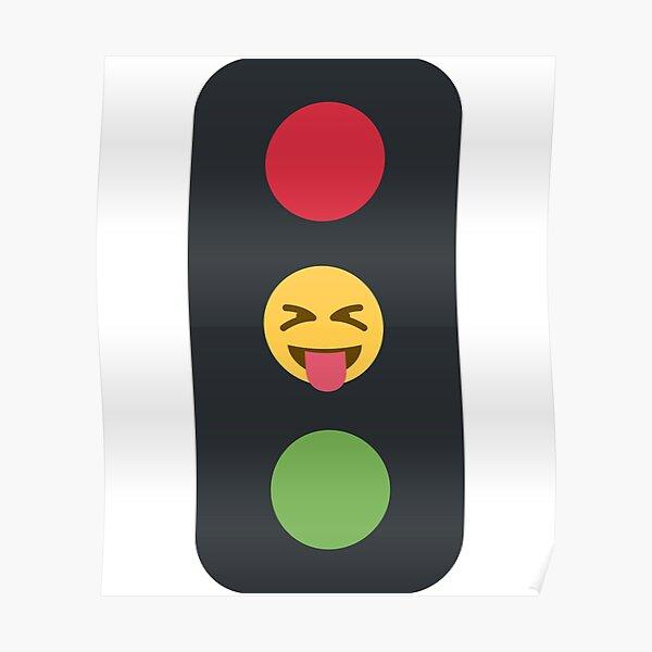 semáforo emoji lengua fuera Póster