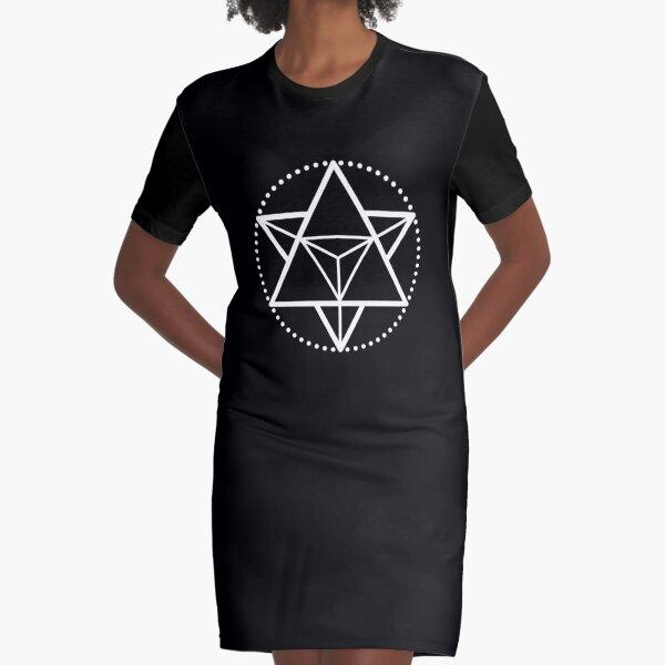 The Principle of Mentalism - White Startetrahedron / Mercaba Graphic T-Shirt Dress