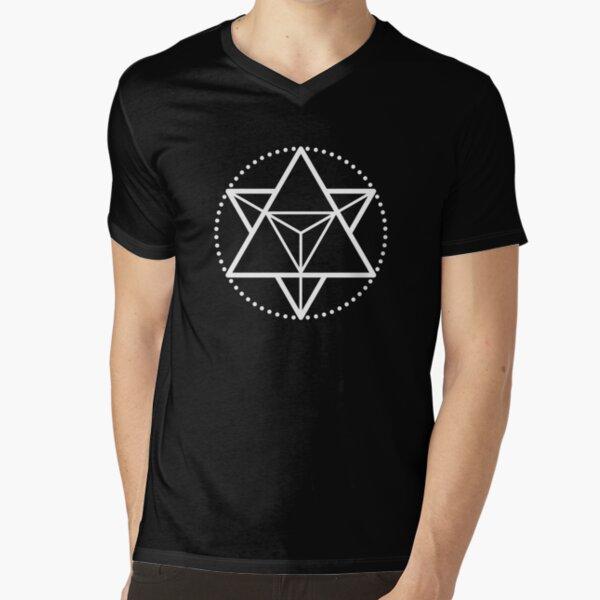 The Principle of Mentalism - White Startetrahedron / Mercaba V-Neck T-Shirt