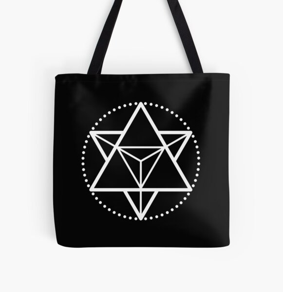 The Principle of Mentalism - White Startetrahedron / Mercaba All Over Print Tote Bag