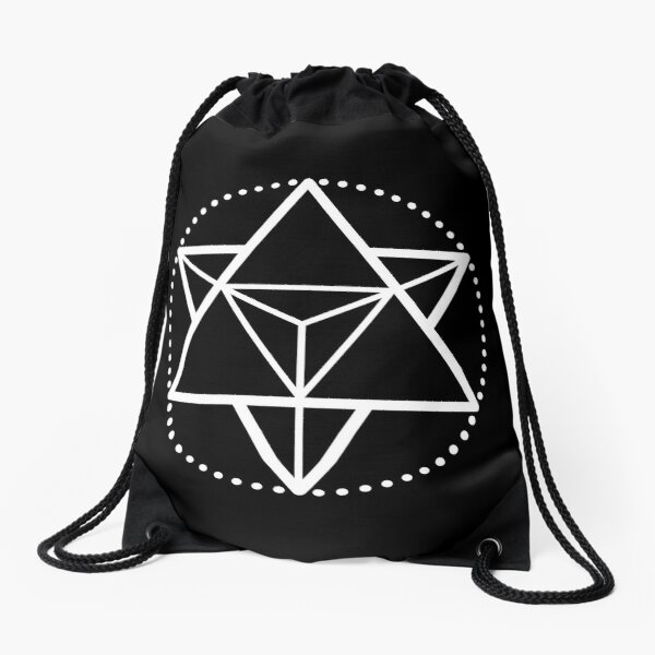The Principle of Mentalism - White Startetrahedron / Mercaba Drawstring Bag