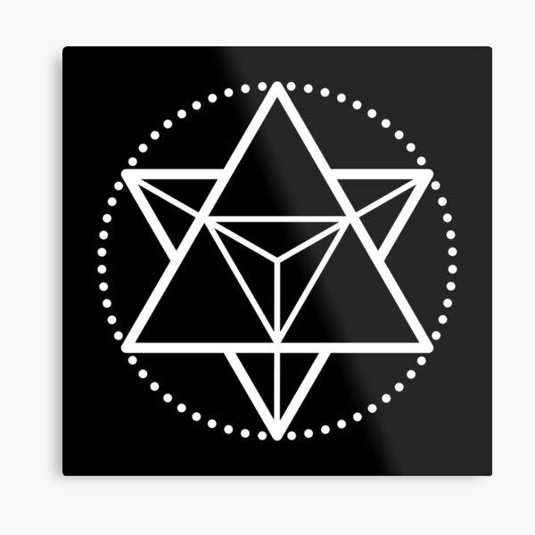 The Principle of Mentalism - White Startetrahedron / Mercaba Metal Print