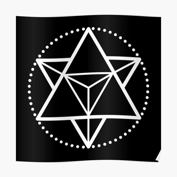 The Principle of Mentalism - White Startetrahedron / Mercaba Poster