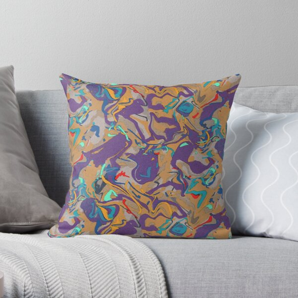 Gold and Purple Abstract Throw Pillow