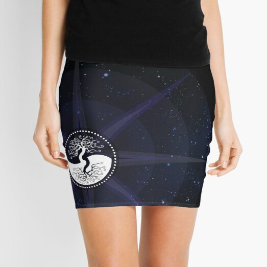Stars with White Tree of Life Symbol Mini Skirt