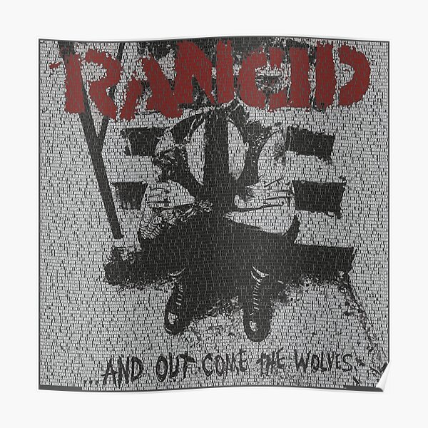 Text Portrait of Rancid's And Out Come The Wolves... cover with all the songs Portrait of Rancid's And Out Come The Wolves... cover with all the songs Poster