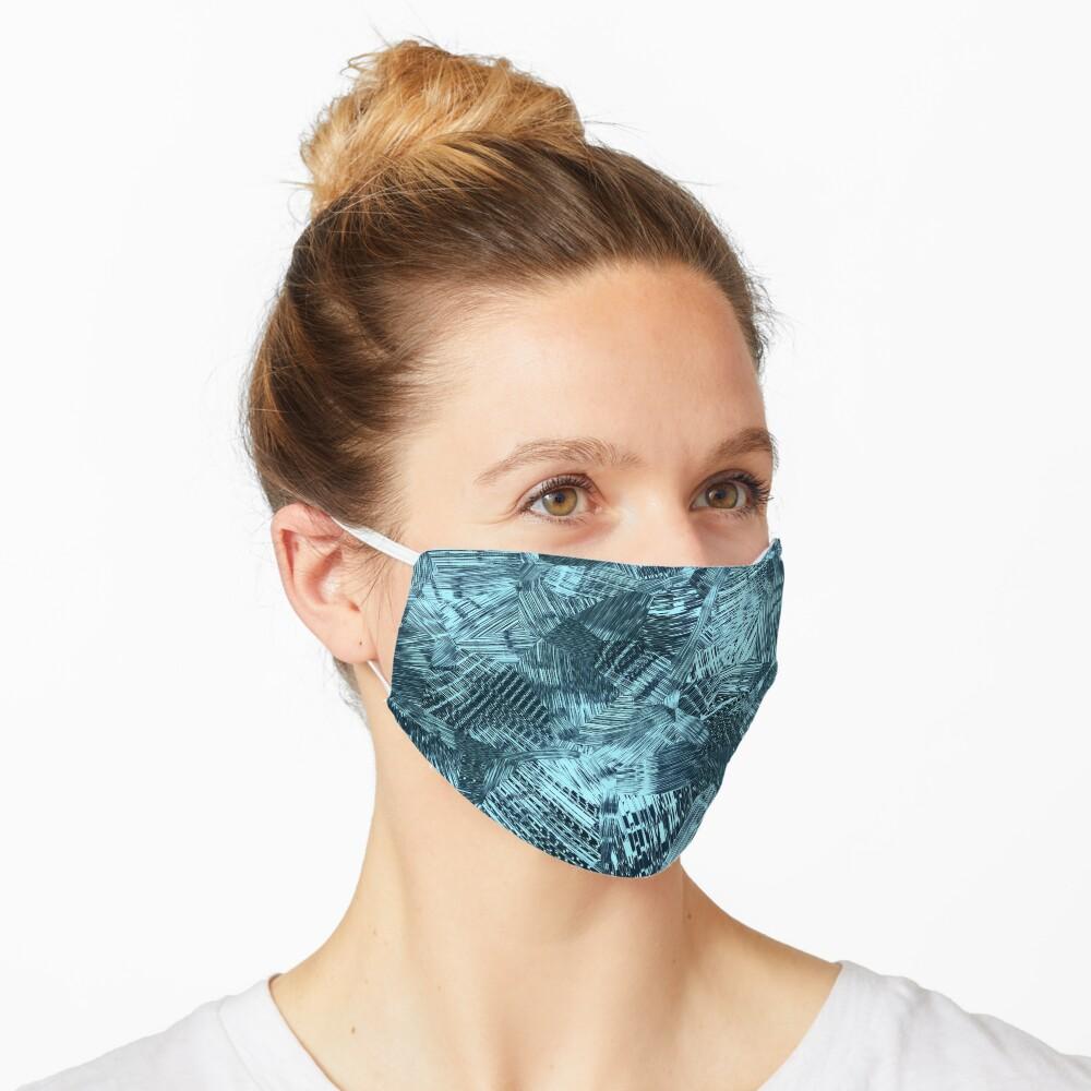 Celeste Sky Blue and Dark Grey Paint Brush Strokes Pattern Mask