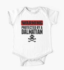 Warning Protected By A Dalmatian One Piece - Short Sleeve