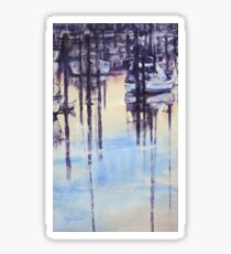 Tranquil evening in marina Sticker