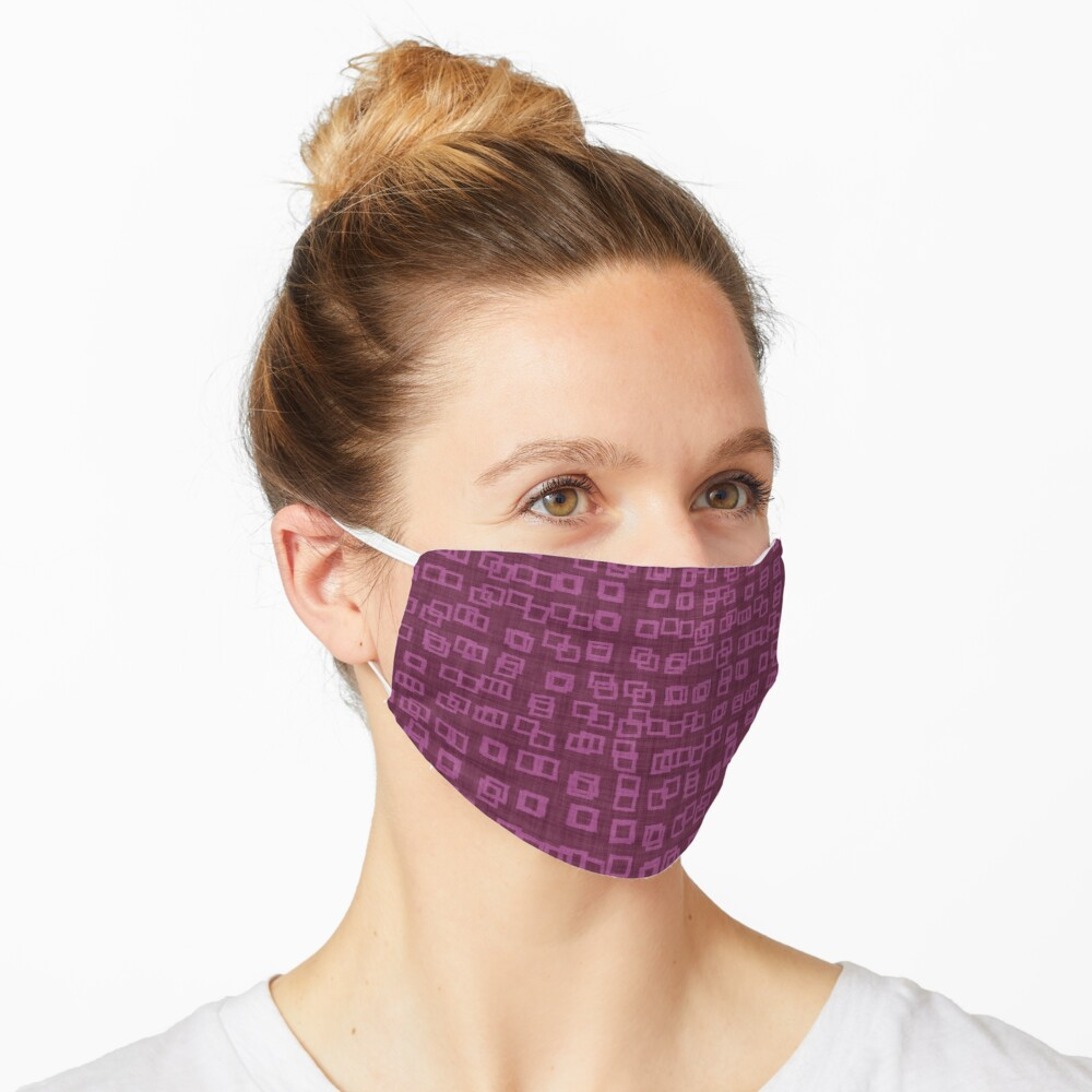 Dark Raspberry Pink Abstract Checkered Blocks Tiles Pattern Mask