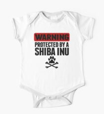Warning Protected By A Shiba Inu One Piece - Short Sleeve