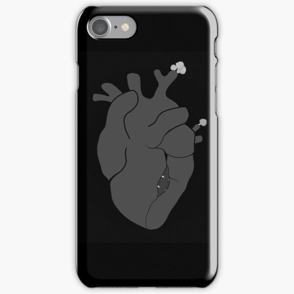 Realistic Black and White Heart With Mouth and Flowers iPhone Snap Case