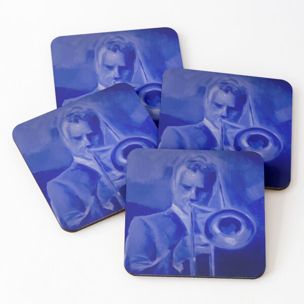 Trombone player in blue Coasters (Set of 4)