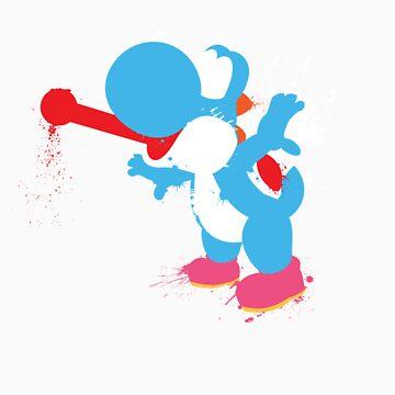 Blue Yoshi Splatter Design by thedailyrobot