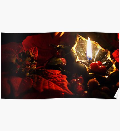 Poinsettia By Candlelight  Poster