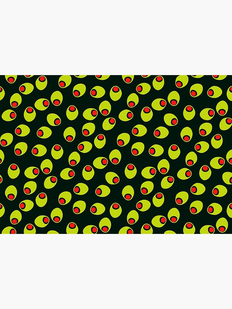 Yummy Olives With Red Pimentos Pattern on Black by RootSquare