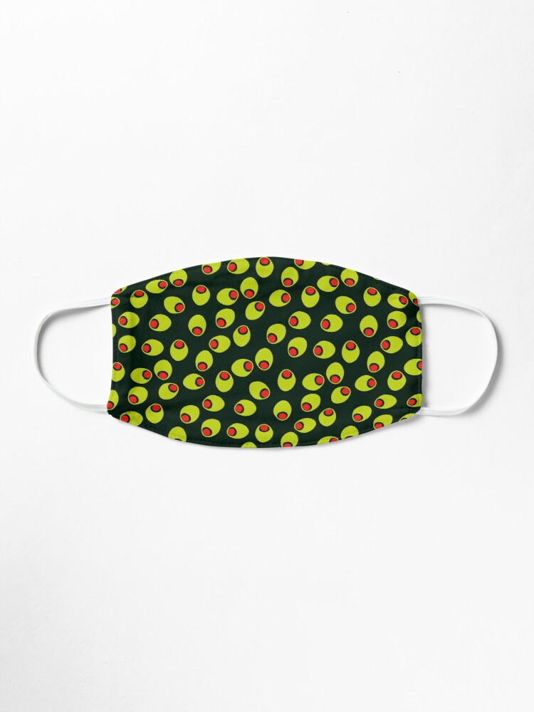 Alternate view of Yummy Olives With Red Pimentos Pattern on Black Mask