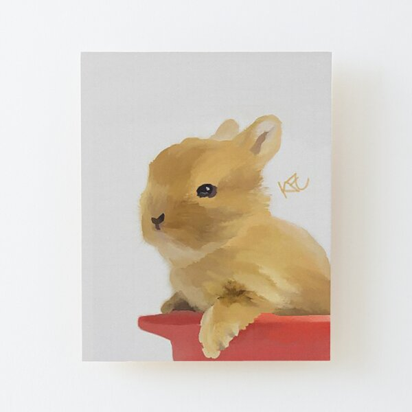 Bunny In A Cup Wood Mounted Print