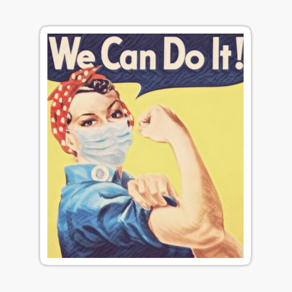 Rosie the Riveter Wearing a Face Mask - We Can Do It Sticker