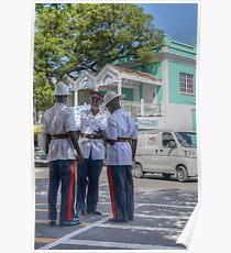 Police Officers on Bay Street in Downtown Nassau, The Bahamas Poster