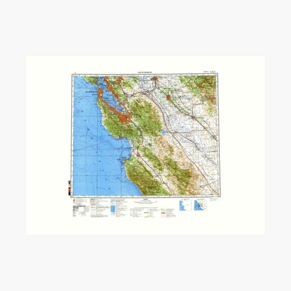 Soviet Map of San Francisco Bay Area Art Print