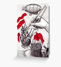 Revolutionary Sushi surreal pen ink and pencil drawing Greeting Card