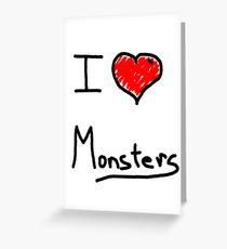 i love halloween monsters Greeting Card