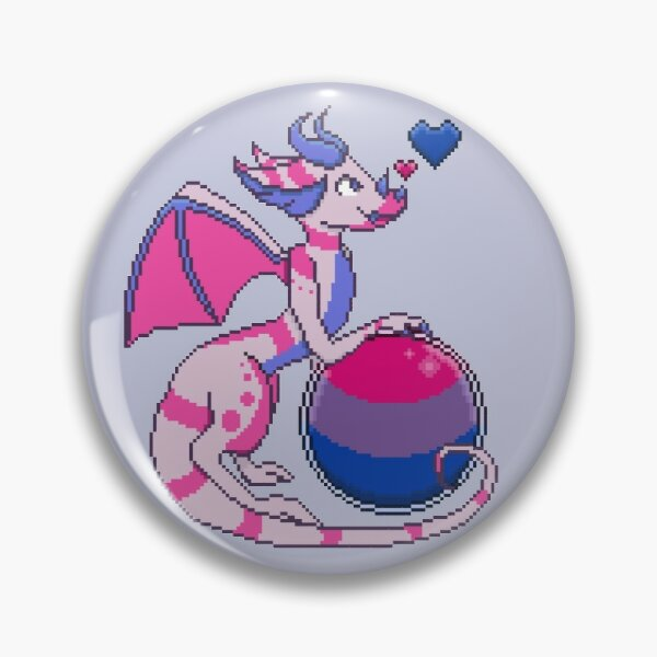 Pixel Pride Dragons: Bisexual Pride Pin