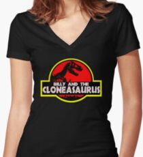 Billy and the cloneasaurus - The Simpsons Cartoon Women's Fitted V-Neck T-Shirt