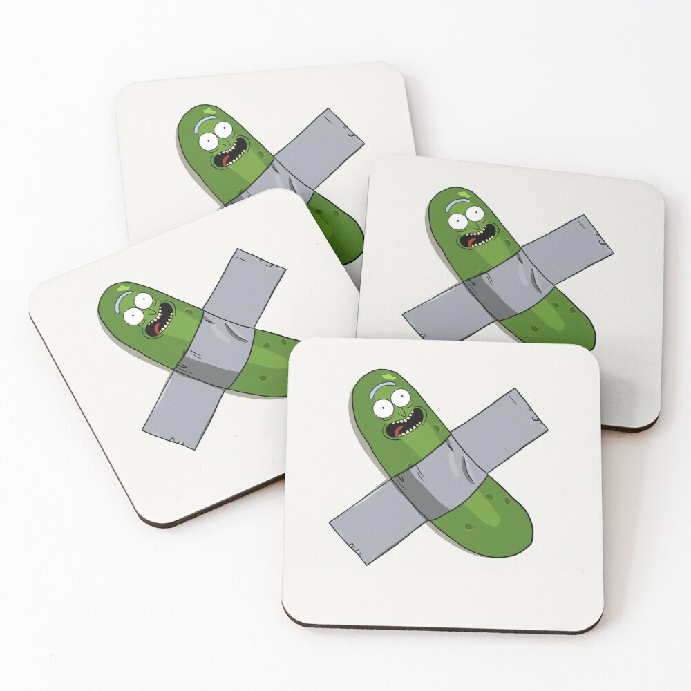Pickle Rick Modern Art Happy Version - Rick and Morty Fan Art Coasters (Set of 4)