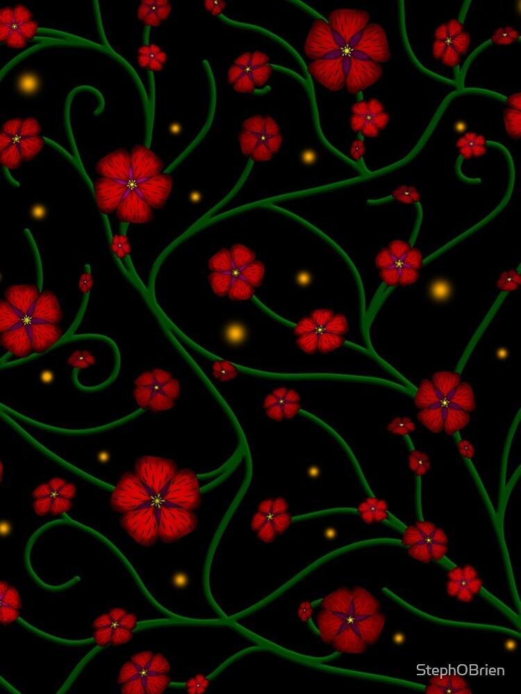 Ruby Flowers, Emerald Vines by StephOBrien
