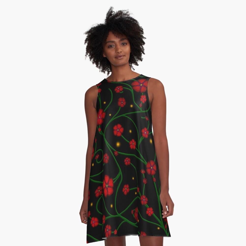 Ruby Flowers, Emerald Vines A-Line Dress