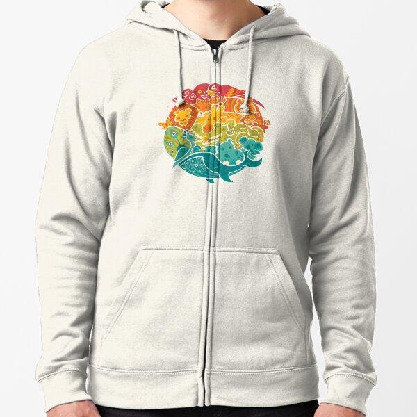 Animal Rainbow - cream Zipped Hoodie