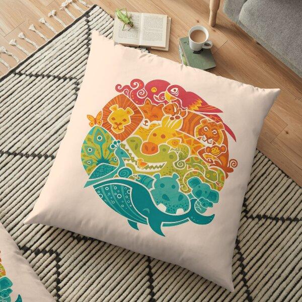 Animal Rainbow - cream Floor Pillow