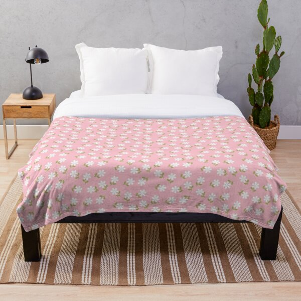 White Flowers on Pink Floral Pattern  Throw Blanket