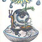 Indigo Rain, snail with daisy umbrella on a mushroom by Vicki Noble