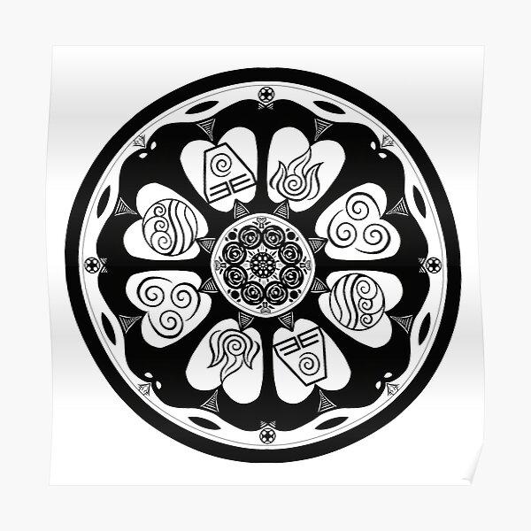 Ornate White Lotus Tile Poster