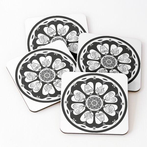 Ornate White Lotus Tile Coasters (Set of 4)