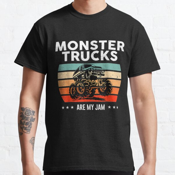 Vintage Monster Truck Are My Jam Retro Sunset Cool Engines Classic T-Shirt