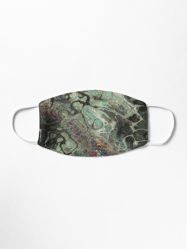 Alternate view of Dragon's Breath Black Greens Abstract Texture Pattern Mask
