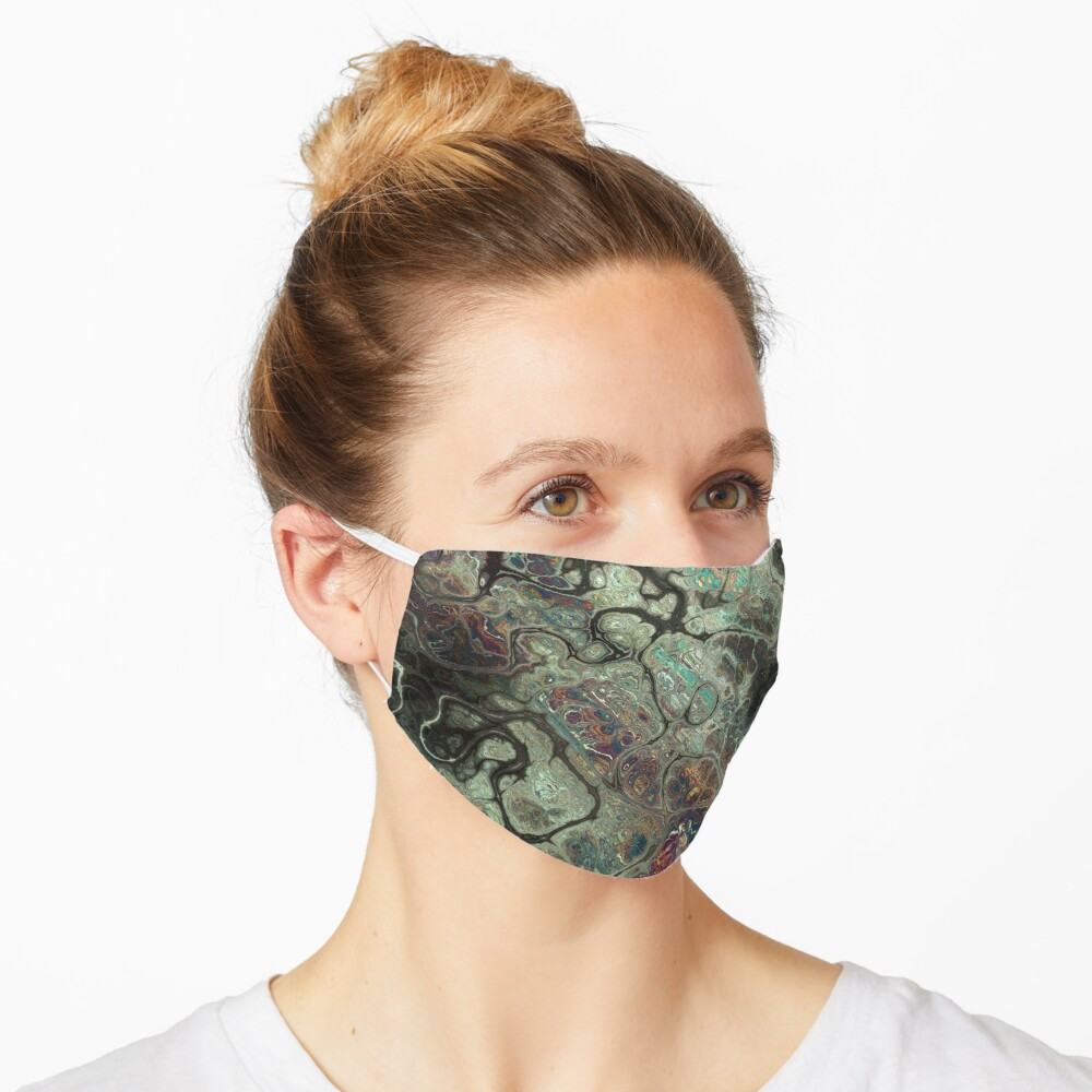 Dragon's Breath Black Greens Abstract Texture Pattern Mask