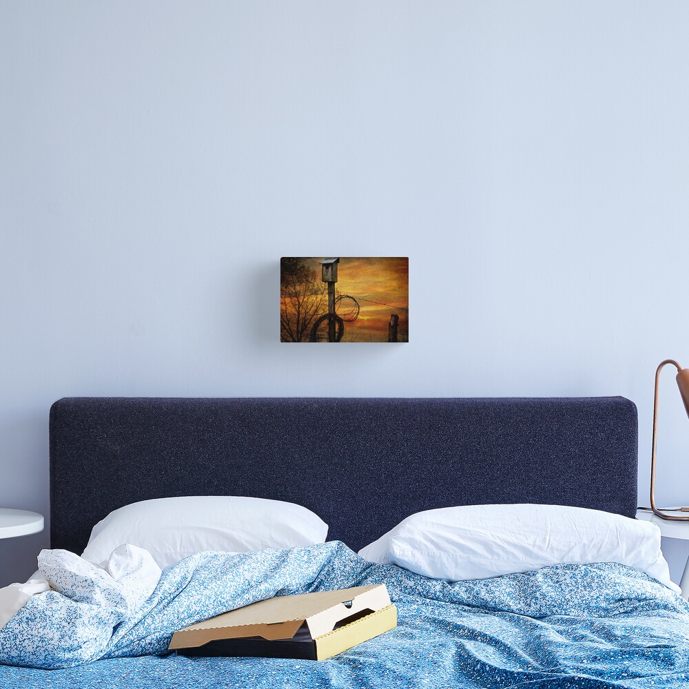 Blue Bird House and Barbed Wire Canvas Print